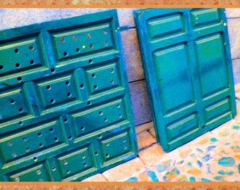 "Photo notecard of artsy blue doors, 5.5""x4.25"", blank. Decorative border."