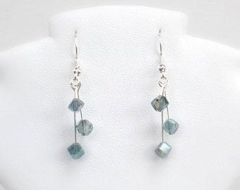 Waterfall Crystal Earrings in Translucent Aqua