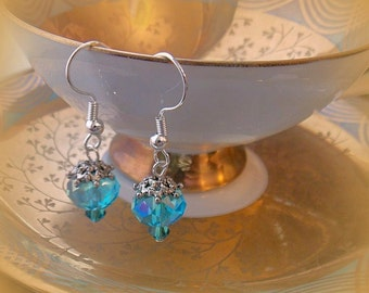 Blue Crystal Earrings, Aquamarine