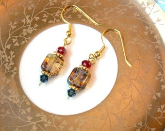 Carnival of Venice Earrings in Red, Blue, and Amber