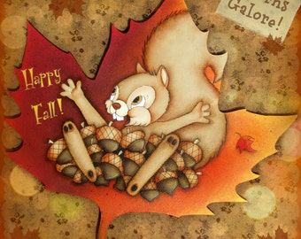 E PATTERN - Acorns Galore! This adorable Squirrel is so Happy that Fall is here!! CUTE!! Designed/Painted by Sharon Bond - FAAP