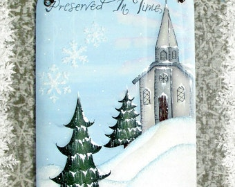 E PATTERN - Preserved in Time - Peaceful Winter setting with Church, Pine Trees, Snowflakes and Bunny. Designed/Painted by Sharon Bond