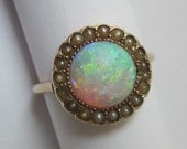 Antique Victorian STRIKING Opal and Split Pearl Rose Gold Ring 10K