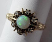 Antique Victorian Opal and Rose Cut Diamond Halo Ring 10K