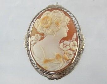 Vintage Art Deco Cameo Pendant/Pin 14K