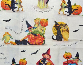 Halloween Fabric /   Vintage Children  / Halloween Vignettes  /   Marcus Brothers /  By the Yard