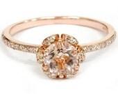 1.50CT Morganite & Diamond Floral Halo Engagement Ring 14K Rose Gold - Size 4-9