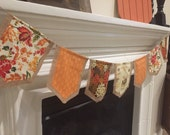 Fall Harvest Autumn Fabric and Burlap Banner