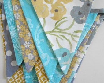 Banner in Teal Blue, Grey, and Mustard Yellow Fabric / Party Banner/ Baby Shower Bunting/ Photo Prop/ Bridal Shower/  Large Flags