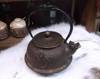 Cast Metal Bear Tea Pot Kettle