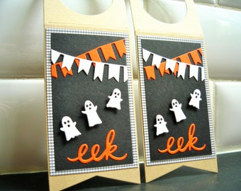 Halloween Wine Bottle Tags Set of 2, Beer Bottle Tag Set