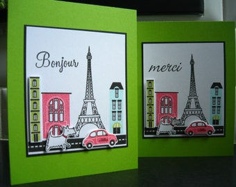 Westie Bonjour Cards Set of 2, Paris France Lover, Paris Cards, Eiffel Tower Cards
