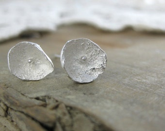 Poppy Flower Studs// Hand Crafted Fine Silver Stud Earrings//Organic// Botanical Jewelry//Eco Chic // Earthy // Rustic