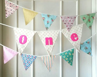 Baby One Year Banner, First Birthday Bunting, Fabric banner (set of 3)