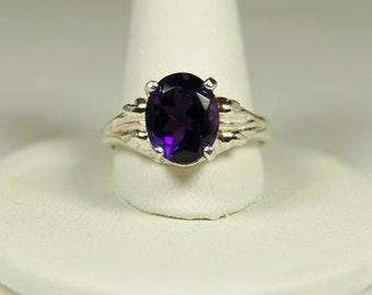 Amethyst Ring, Size 8, Clear Deep Purple, 3 Carats, Sterling Silver, February Birthstone, Purple Amethyst, Natural Amethyst