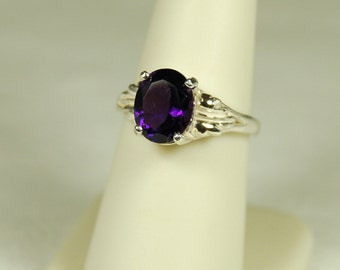 Amethyst Ring, Size 8, Clear Deep Purple, 3 Carats, Sterling Silver, February Birthstone, Purple Amethyst, Natural Amethyst