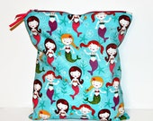 Under the Sea Mermaids Large Wet Bag, Cloth Diaper Wet Bag, Reusable Waterproof Bag, Beach Bag, Pool Bag