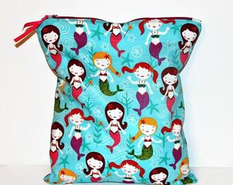 Under the Sea Mermaids Large Wet Bag, Cloth Diaper Wet Bag, Reusable Waterproof Bag, Beach Bag, Pool Bag