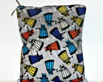 Large Wet Bag Dalek Toss, Cloth Diaper Wet Bag, Reusable Waterproof Bag, Beach Bag, Pool Bag, Doctor Who Bag