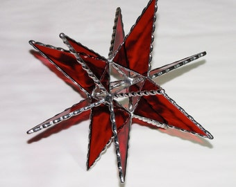 Stained Glass - Red Moravian Star, Christmas Star, Tree Topper, Sun Catcher