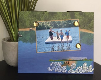 "The Lake Vacation Cabin Scouting Great Outdoors Boating handmade travel magnetic picture frame holds 5"" x 7"" photo 9"" x 11"" size"