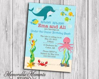 PRINTABLE INVITATIONS Under the Ocean Birthday Invitation - Memorable Moments Studio