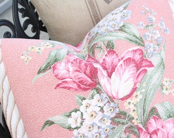 Antique English Pink Cabbage Rose Floral Tulip Vintage Nubby Pink Barkcloth Fabric Custom Decorative Throw Pillow