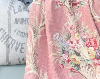 Wonderful Rare Old World 1930s 40s Cabbage Rose Floral Vintage Nubby Pink Barkcloth Fabric Drapery Panels