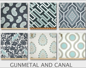 Custom Baby Crib Bedding -Design Your Own Baby Bedding-  Gunmetal and Canal