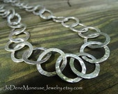 Sterling silver chain necklace,chunky,hand wrought, hand fabricated,artisan,big,large links, metalsmith jewelry,Silver Dreams