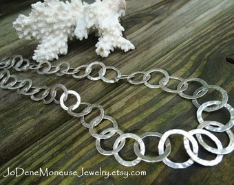 Sterling silver handmade chain necklace, big link, chunky, hand wrought, hand fabricated, artisan, metalsmith jewelry, Silver Dreams