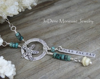 Starfish necklace, Seas the day, Seize the day, hand fabricated sterling silver, turquoise,sea shells,surf jewelry