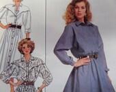 1987 Loose-Fit Western-Shaped Yoke Shirtdress Pattern ~ Butterick 4917 Miss 8-10-12. BLOUSON BODICE SHIRTDRESS Pattern at WhiletheCatNaps