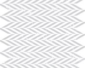 ZIGZAG fabric Grey pattern printed on pure white linen fabric Sold by half yard
