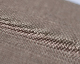 Linen cotton blend fabric by half yard Melange brown fabric