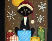 Christmas Folk Art Wood Bread Board - MADE TO ORDER - Hand painted Primitive Style Black Cat Wearing Santa Hat, Christmas gifts, snowflakes