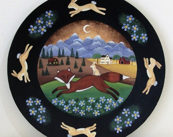 Folk Art Primitive Wood Plate Hand Painted Red Fox, Rabbit Riding on Back, Mountains, Blue Flowers, Farm, Saltbox House, MADE TO ORDER