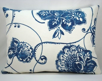 Blue White Lumbar Pillow Modern Pillow Decorative Pillow Accent Pillow Toss Pillow Indigo Blue Pillow 13x18 Pillow Cover