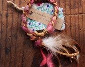 LBB-01, vegan leather and yarn hand-braided braceket with feather