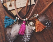 AKN-01, repurposed antique Kuchi silver bell, tassle and feather choker/necklace/bracelet/ankle