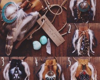 Native American inspired handmad medicine pouch necklace