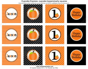 Pumpkin Patch One First Birthday Boy orange black PRINTABLE Cupcake Toppers chevron polka dot  1st birthday halloween fall 1053