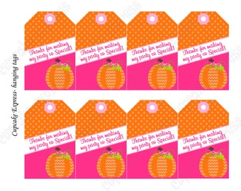 Pumpkin Patch Thank You Tags First Birthday girl orange pink  PRINTABLE 1st birthday halloween fall Instant Download  -1051