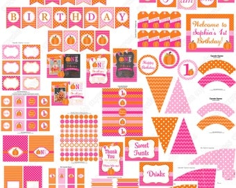 Pumpkin Patch One First Birthday girl orange pink green  PRINTABLE Deluxe Package chevron polka dot  1st birthday halloween fall  -1051