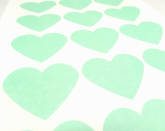 "Pastel Green Sticker, Heart Labels 2.275"" x 1.8"" - Set of 30"