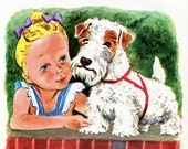 Sealyham Terrier and Boston Terrier Dog Prints, Tibor Gergely, Illustrations and Poems from a Vintage Children's Book