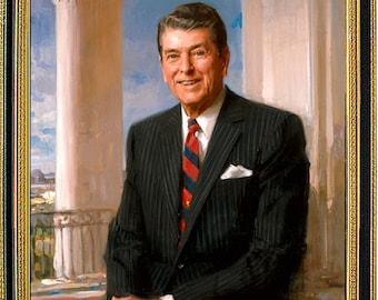 Ronald Reagan Presidential Painting Portrait Framed Art Print
