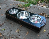 Elevated Dog Bowl Pet Feeder For Cats or Small Dogs, Black Cottage Chic Made To Order