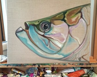Original oil tarpon painting by Carin vaughn