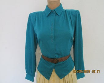 Nice Blouse Vintage / Green / Turquoise / Size  EUR 40 / UK12 / Buttoned
